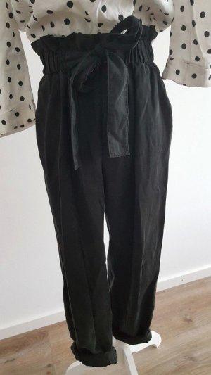 Mango Pantalon à pinces noir lyocell