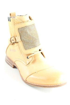 Bunker Ankle Boots camel-goldfarben Punktemuster Maskulin-Look