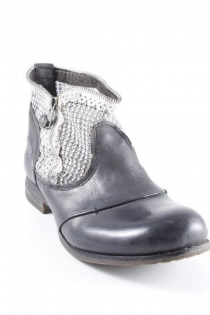 Bunker Western Booties black-silver-colored biker look