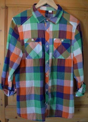 Bunt (blau, orange, weiß, grün) kariertes Hemd