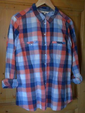 Bunt (blau, orange, weiß) kariertes Hemd