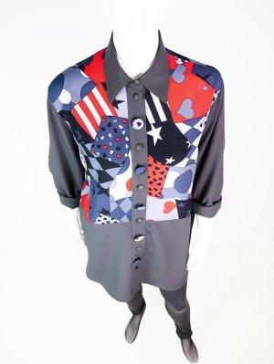 Bunt gemusterte Vintage Bluse