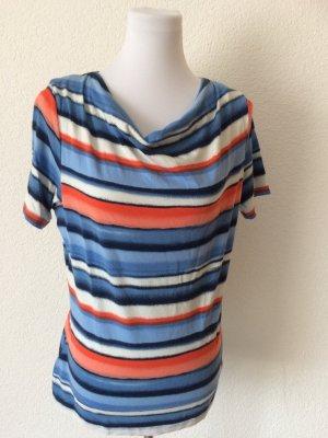 bunt gestreiftes wenig getragenes Shirt mit Wasserfallausschnitt - Gr. 38