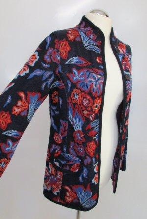 Bunt Strick Cardigan Jacke Pullover Madeleine Größe M 38 Jaquard Blumen Muster Long Blau Rot Orange Wolle Viskose Stehkragen