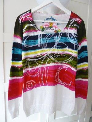 Bunt-weißer Pullover Desigual