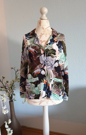 bunte Bluse, Hemd mit tropischem Muster von Zara