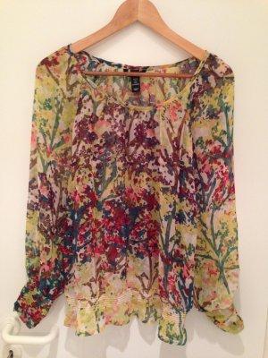 Bunte Chiffon-Bluse von H&M in Größe 38