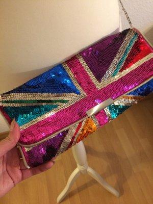 Bunte Clutch mit Pailletten | Tasche mit Britischem Aufdruck