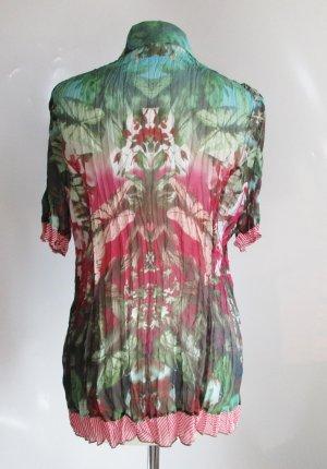 Bunte Crash Bluse 44 46 XL Bonita Tribal 3D Muster Streifen Rot Grün Pink Chiffon Plissee Falten Long Tunika Hemd Strandkleid
