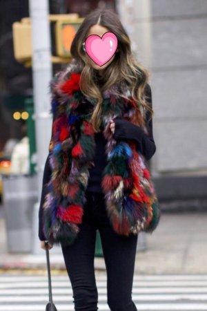 Smanicato di pelliccia multicolore