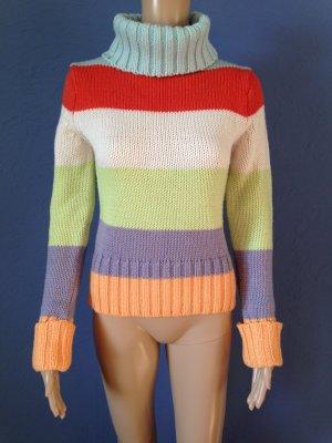Bunte gestreifter Rollkragen Pullover