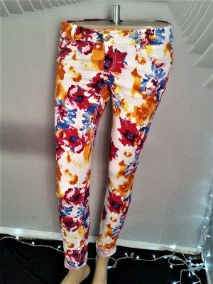 Amisu Jeans cigarette multicolore coton