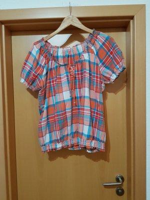 bunte karierte Bluse Sommerbluse Tunika Shirt Gr. 44/46