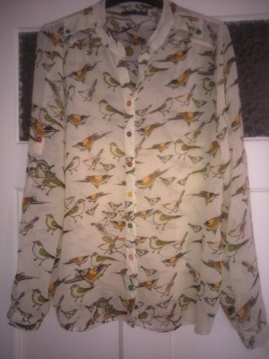 bunte oversize Chiffonbluse mit Vogelprint