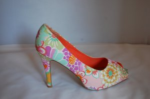 Akira Peep Toe Pumps multicolored mixture fibre