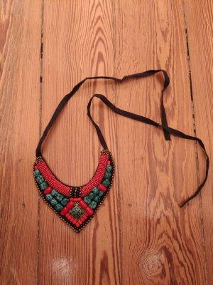 Bijou Brigitte Statement Necklace brick red-turquoise