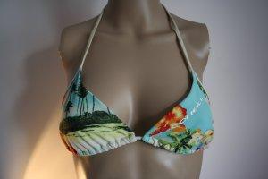 bunter Bikini mit Blumen und Palmen