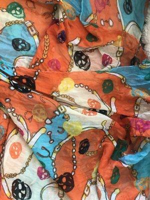 bunter Festival Schal/Tuch mit Ketten und Totenkopf Print