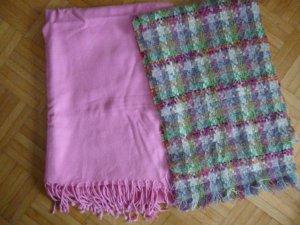 Bufanda de punto rosa-verde