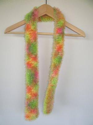Vintage Bufanda de flecos verde neón