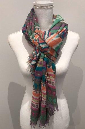 Codello Bufanda de flecos multicolor lana de esquila
