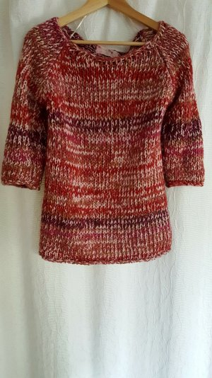 Bunter Strickpullover mit 3/4-Arm