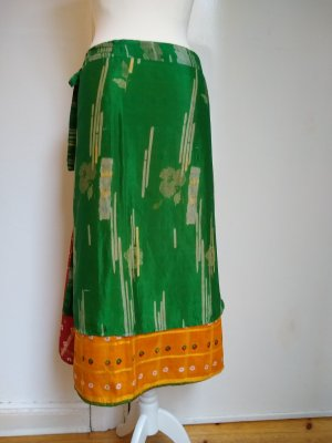 Jupe portefeuille multicolore tissu mixte