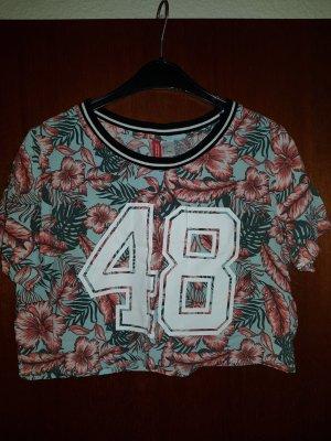 H&M T-shirt court multicolore viscose