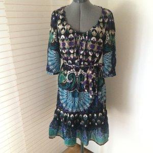 Buntes Kleid, Grafik-Muster, bohemian style, S/ 38- Seiden-touch