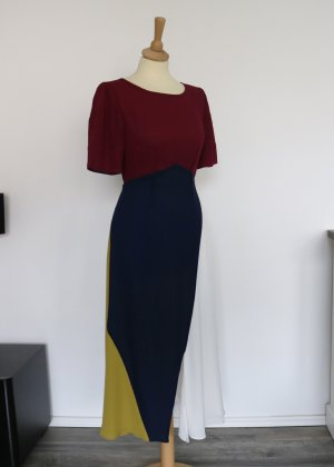 Vestido línea A burdeos-azul oscuro