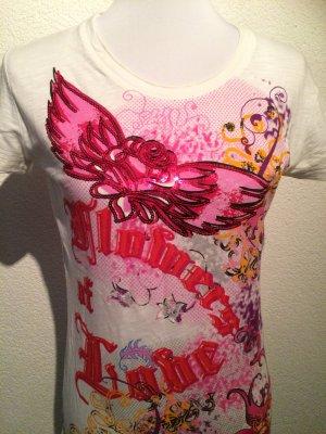 buntes Shirt / T-Shirt /Longshirt  leicht durchsichtig mit buntem Print - Gr. L