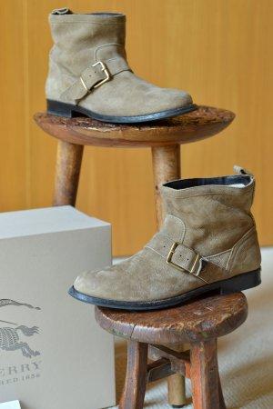 BURBERRY 37,5 Ankleboots OVP Stiefeletten Calf Leder Velour Beige neuwertig