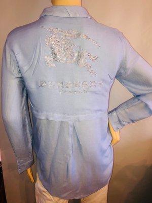 Burberry London Blouse longue bleu azur-argenté