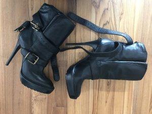 Burberry Platform Booties black leather