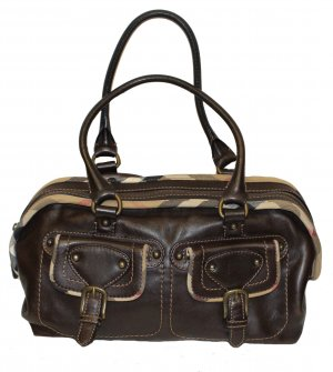 Burberry Bowling Bag dark brown leather