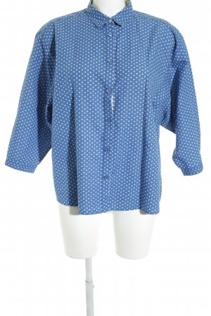 Burberry Brit Langarm-Bluse stahlblau-wollweiß Punktemuster Casual-Look