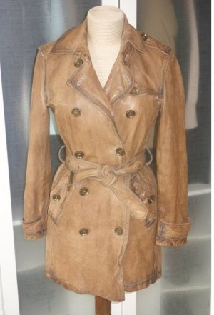 Burberry Brit Cappotto in pelle marrone chiaro