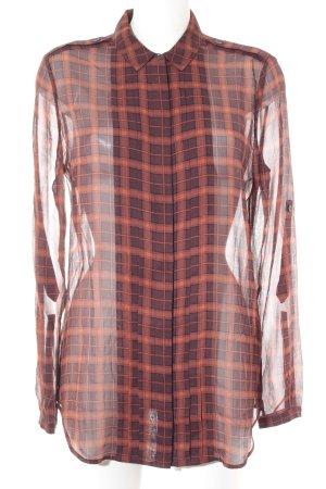 Burberry Brit Blusa in seta ruggine-marrone-rosso motivo a quadri stile casual