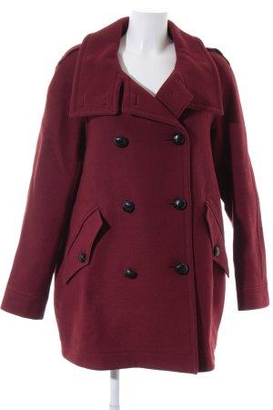 Burberry Brit Cappotto in lana rosso scuro-nero elegante