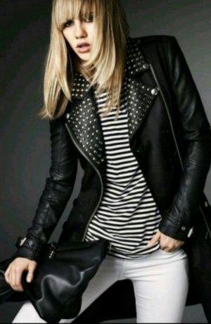 Burberry Leather Coat black-silver-colored