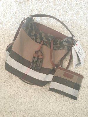 Burberry Canvas Check Camouflage Medium Susanna Tassel Hobo Bag Tasche