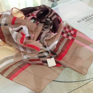 Burberry Check Silk Satin Scarf *Colour PARADE RED CHECK