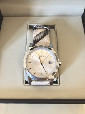 Burberry Watch With Leather Strap beige-silver-colored