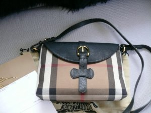 Burberry Crossbody Tasche House Check Leder Schwarz Rechnung Staubbeutel
