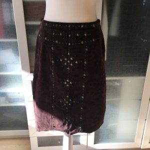 Burberry Falda de cuero marrón claro-marrón grisáceo Cuero