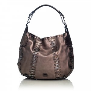 Burberry Sac hobo brun cuir