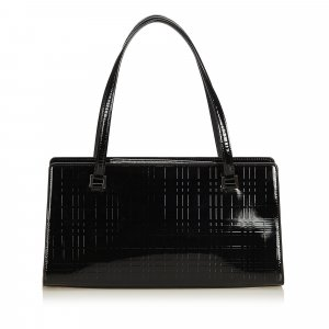Burberry Embossed Patent Leather Shoulder Bag