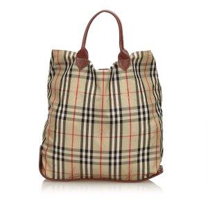 Burberry Foldable Plaid Nylon Tote Bag