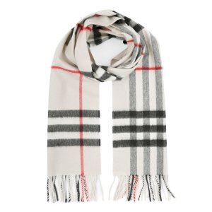 Burberry Giant Check Cashmere Scarf Stone Check