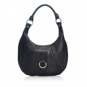 Burberry Grained Leather Hobo Bag